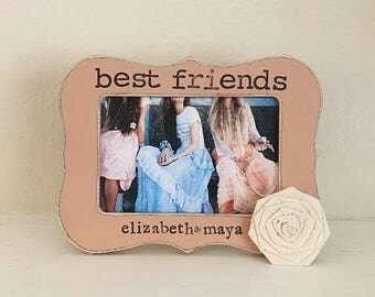 Best friends frame Best friends picture frame BFF gift personalized picture frame gift bohemian decor Wedding frame - flowers in December