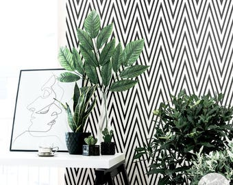 Black Chevron Wallpaper / Traditional or Removable Wallpaper
