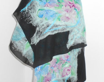 "Nunofelting shawl ""Spring"",Felted cape ,Handmade item,One a kind piece of art, Wet felting"