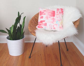 Hand painted abstract watercolor pillow cover, brushstroke pillow, one of a kind pillow, pink pillow, linen pillow, colorful pillow, modern