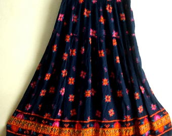 Vintage Boho Chic Festival Skirt / Flair Melbourne Elements Maxi Skirt / Women's Size M / Novelty Print Hippie Skirt / Gypsy / Made in USA