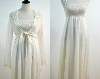 70s Sheer Gauze Nightgown Sundress / 1970s Maxi Dress / Vintage Hippie Dress / Small S / Medium M / Boho Bohemian / Festival Dress / Wedding