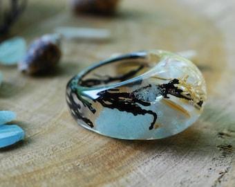Summer Ring, Mermaid Statement Ring, Ocean Sea Ring, Aquamarine Stone Ring, Gemstone Ring, Light Blue Resin Ring, Beach Ocean Jewelry Gift