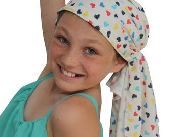 Ava Joy Children's Pre-Tied Head Scarf, Girl's Cancer Headwear, Chemo Head Cover, Alopecia Hat, Head Wrap Hair Loss Colorful Hearts