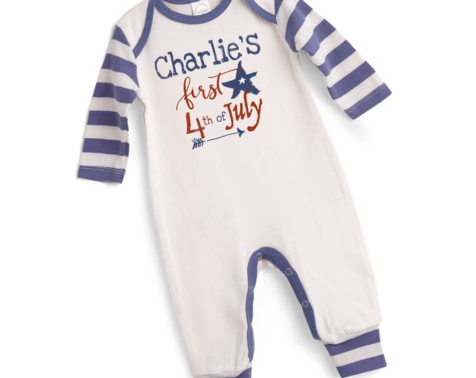 Personalized Baby Fourth of July Outfit, 4th of July Baby Onesie, Newborn Boy Outfit, Baby Boy Outfit, TesaBabe