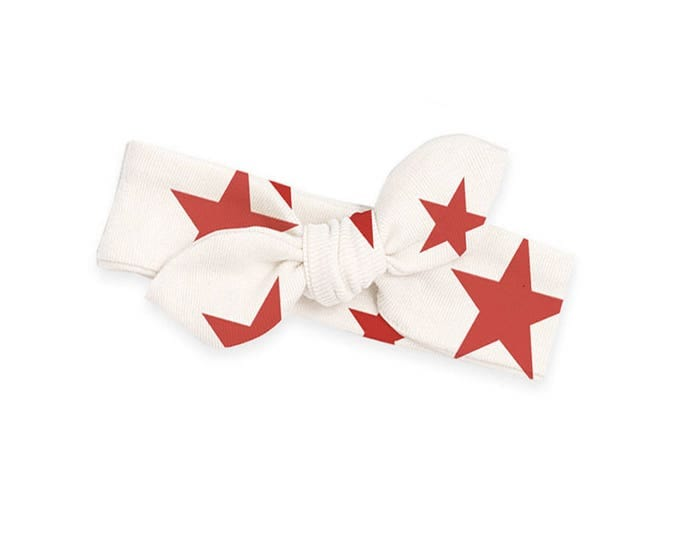 Baby Girl 4th July Headband, Newborn Girl Headband, Infant Baby Bow Headband, Red Stars Baby Bow Headband, July 4th Baby, TesaBabe