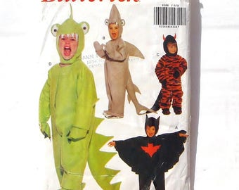 Butterick Toddler/Child's Full Body Costumes Pattern #6386 - Sz Small (1-2)+Medium (3-4)+Large (5-6) - Shark, Bat, Monster, Dare Devil