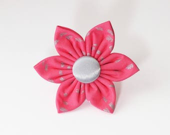 Pink and Silver Flower for Dog collar, Cat collar, collar flower, pet collar flower, wedding flower, flowers for dog collars