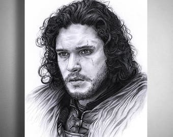 Game of Thrones - Jon Snow (Kit Harington)  - Illustrated Giclee Print