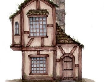 Fairy Tale Cottage, Watercolor Print, Architecture Art, Childrens Room Decor, Pen And Watercolor, Faiytale Art, Tudor House, Nursery Print
