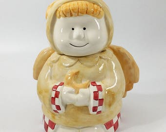 Chubby Angel with Crescent Moon Ceramic Cookie Jar Vintage Design Pac Inc.