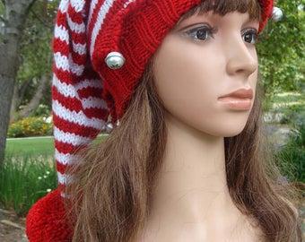 Santa's Elf knit hat with snowflake jingle bells and Pom-pom, Elf knit hat, Elf hat, Size Teen/Adult