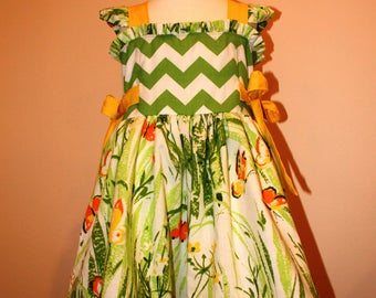 Girls Vintage Butterfly and Modern Chevron Ruffle Dress