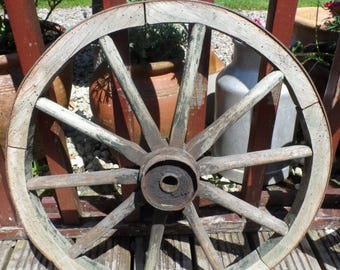 Authentic Genuine Wooden 10 spoke Cart Wheel (52 cm) with steel banding to the wheel face steel fixtures to the hub all original condition