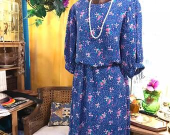Vintage 80s Floral Blue Dress by Stuart Alan size 12