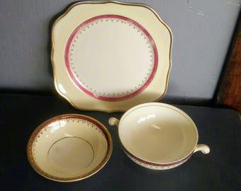 Homer Lauglin, Vintage China Set, Fine China, Farmhouse Decor, Shabby China, Shabby Decor, Cream China, Cardinal Pattern, Eggshell Nautilus