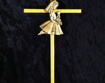 Vintage Pewter And Brass First Communion Cross