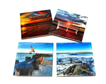 Valentines Day Gift For Her / Beach Coaster Set of 4 / Ceramic Tile Drink Holders / Beach Gift