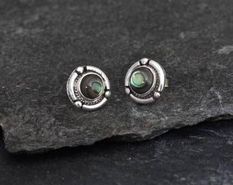 Abalone Shell Earrings, Paua Shell Earrings,  Silver Stud Earrings, Detailed Silver Earrings, Round Earrings, Sterling Silver