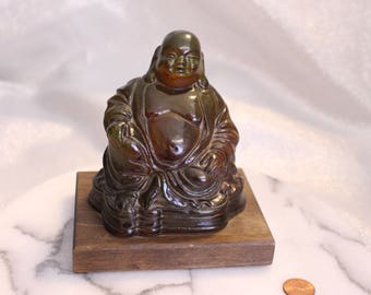 Happy Buddha Statue (Green and Brown tones) on Wooden Base