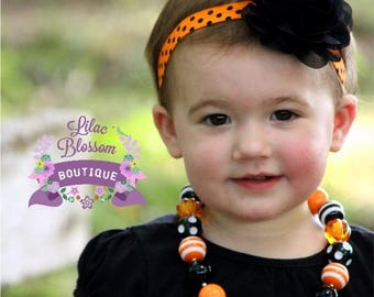Black Orange Dot Chiffon Flower Headband, Halloween Baby Headband, Halloween Baby Bow, Baby Girl Headband, Halloween Infant Baby Bow