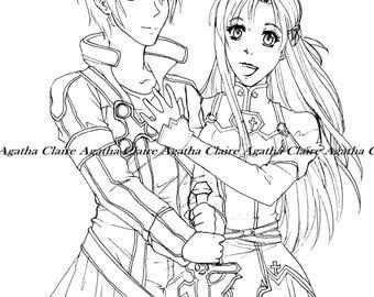 Sword Art Online fanart digital coloring page