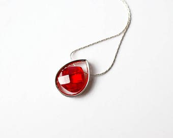 Red Crystal Necklace, Sterling Silver Choker, Mothers Day Gift, Red Statement Necklace, Silver Choker, Silver Teardrop Necklace