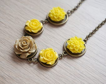 Warm Colors Necklace Yellow Rose Jewelry New Years Gift Boho Jewelry for Women BFF Gift Items Most Sold Bestseller Gift Teenage Girl Jewelry