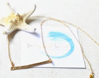 Gold Bar Necklace, Hammered Bar Necklace, Horizontal Bar Necklace, Simple Bar Necklace
