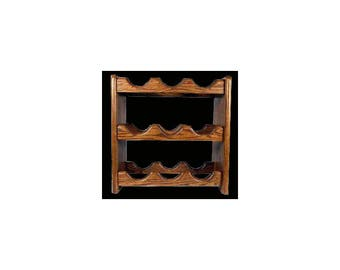 Solid oak wine rack 9 bottle