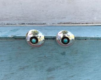Zuni Turquoise Sterling Silver Post Stud Shadowbox Earrings