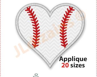 Baseball Heart Applique Design. Baseball heart embroidery design. Baseball applique. Baseball embroidery. Machine embroidery design