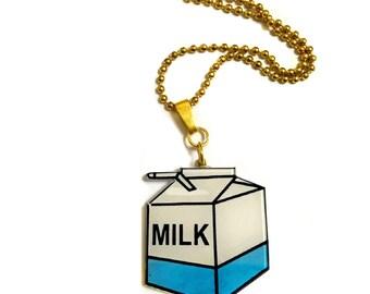 Cute kawaii milk carton necklace, Milk necklace, Food necklace, Breakfast Necklace, Japanese Jewellery, Acrylic Plastic, Fun Bottle of Milk