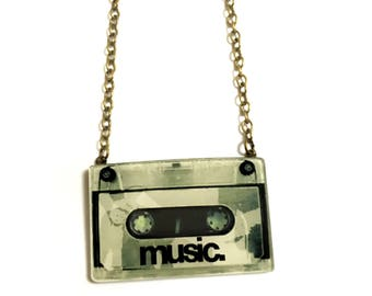 Pop Art style 80's -90's Music Tape Cassette / Compact Cassette / Acrylic / Plastic Charm Cool Geeky Gift Statement necklace