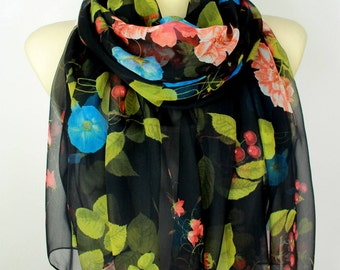 Floral Silk Scarf Printed Chiffon Scarf Birthday Gift Women Gift for her Womens Summer Accessories Large Size Christmas Gift for women