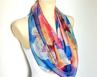 Pink and Blue Infinity Scarf Silk Infinity Scarves for Women Silk Loop Scarf Floral Silk Scarfs Inspirational Women Gift Mom from Daughter