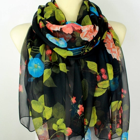 Floral Silk Scarf Printed Chiffon Scarf Birthday Gift Women Gift for her Summer Outdoors Summer Party Womens Summer Accessories Large Size