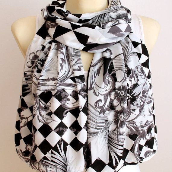White Fashion Scarf Boho Women Scarf Unique Fabric Scarf Satin Scarf Large White Scarf Geometric Scarf Summer Outdoors Summer Party Mum Gift