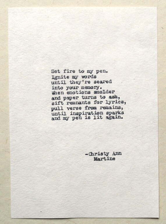 Writing Gifts for Writers - The Blaze Poem - Typed by Author - Christy Ann Martine