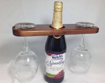 Wine Caddy, Wine Glass Holder, Wine Accessories, Solid Wood