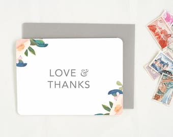 Thank You Cards. Wedding Thank You Card Set. Thank You Notes. Floral Thank You Card. Wedding Card Set. Thank You Cards for Shower Gift.