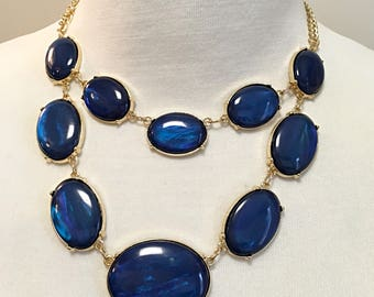 Royal Blue Two Strands Necklace / Gold Chain Royal Blue Necklace.