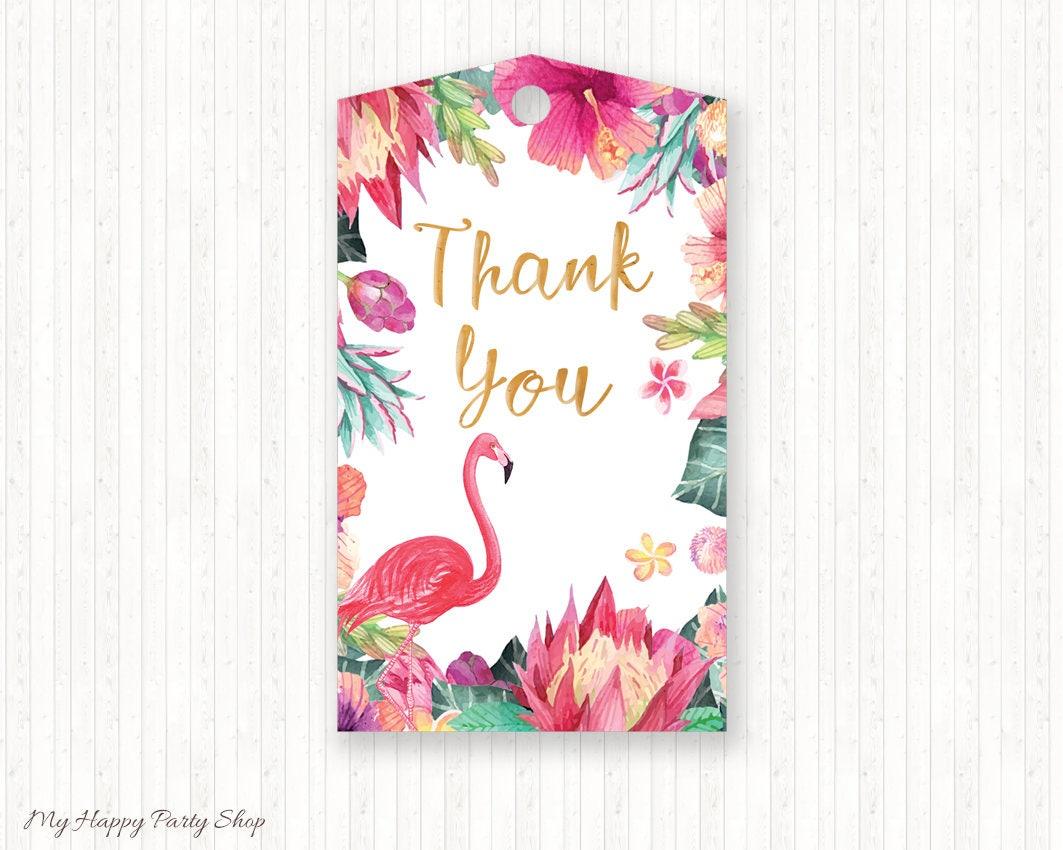Hawaiian Tag: Tropical Favor Tags Flamingo Favor Tags Tropical Birthday
