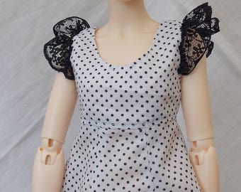 Black and white polka dot print dress for MSD Minifee/Unoa, Slim Mini