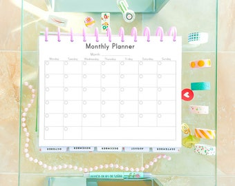 MONTHLY PLANNER Printable PDF Letter Size 8.5x11 Printable Planner Pages Refills Big Happy Planner Monthly Calendar Inserts Instant Download