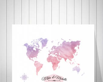 Wedding World Map Guest Book, Bride and Groom Gift, Wedding Anniversary Gift, Watercolor Push Pin Map Guest Book, Foam Board Map - 52077