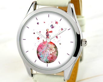 Moon Boy Watch - Watercolor Art Watch - Unique Gift Idea - Women Watches - Art Lover Gift - Teacher Gift - Birthday Gift For Sister