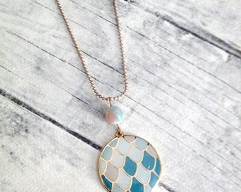 Round pendant necklace, Enamel pendant, Gold necklace, Blue, Boho necklace, Everyday necklace, Summer necklace, Simple necklace, Fashion
