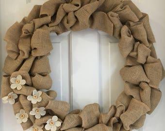 "18"" Burlap Ribbon Wreath with Small Butlap Flowers, No Fray Jute Ribbon, Rustic Decor"