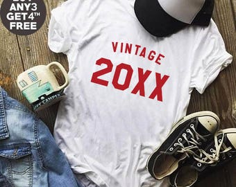 Vintage Tshirt 20xx Shirt Birthday Gifts Custom Shirt Number Funny Gifts Teen Shirt Ladies Graphic Shirt Women Tshirt Gifts Men Tshirt